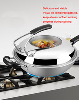 304 stainless steel wok without oily honeycomb honeycomb non stick pan uncoated three layer steel wok