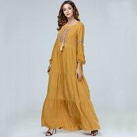 2019 Muslim Dress Women Islamic Clothing Moroccan Kaftan 4XL Embroidery Plus Size Abayas Robe Dubai Abaya Casual Big Skirt