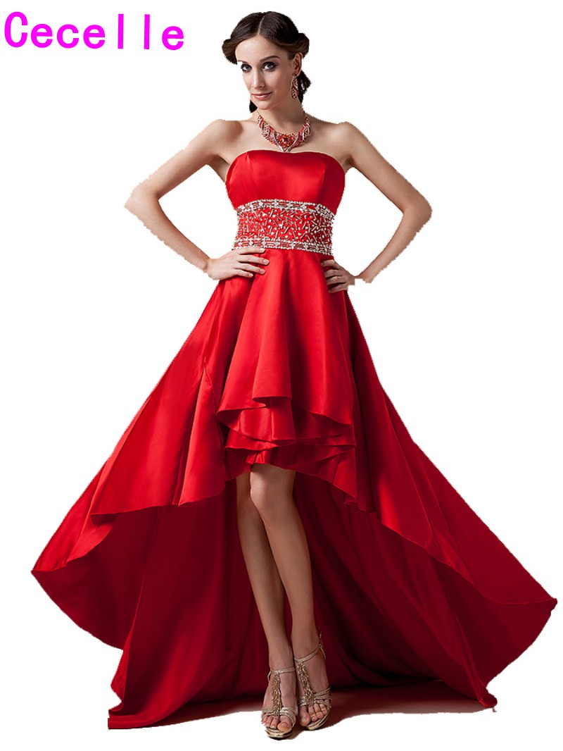 Red High Low Satin Prom   Cocktail     Dresses   Sweetheart Beaded Short Front Long Back Informal   Cocktail   Robes Real Photos Custom Made
