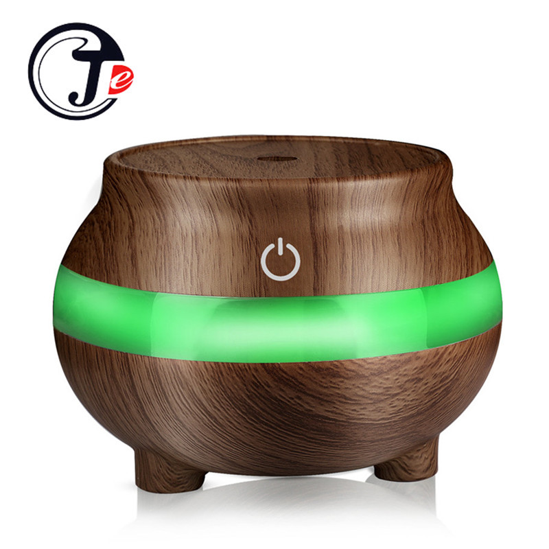 лучшая цена 300ML Wood Grain Air Humidifier Mini USB Ultrasonic Humidifier Oil Diffuser with LED Night Lamp Colorful For Home Office