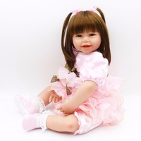 Pursue 24 60 Cm New Pink Dress Bebe Reborn Girl Doll Reborn Cloth Body Silicone Limbs