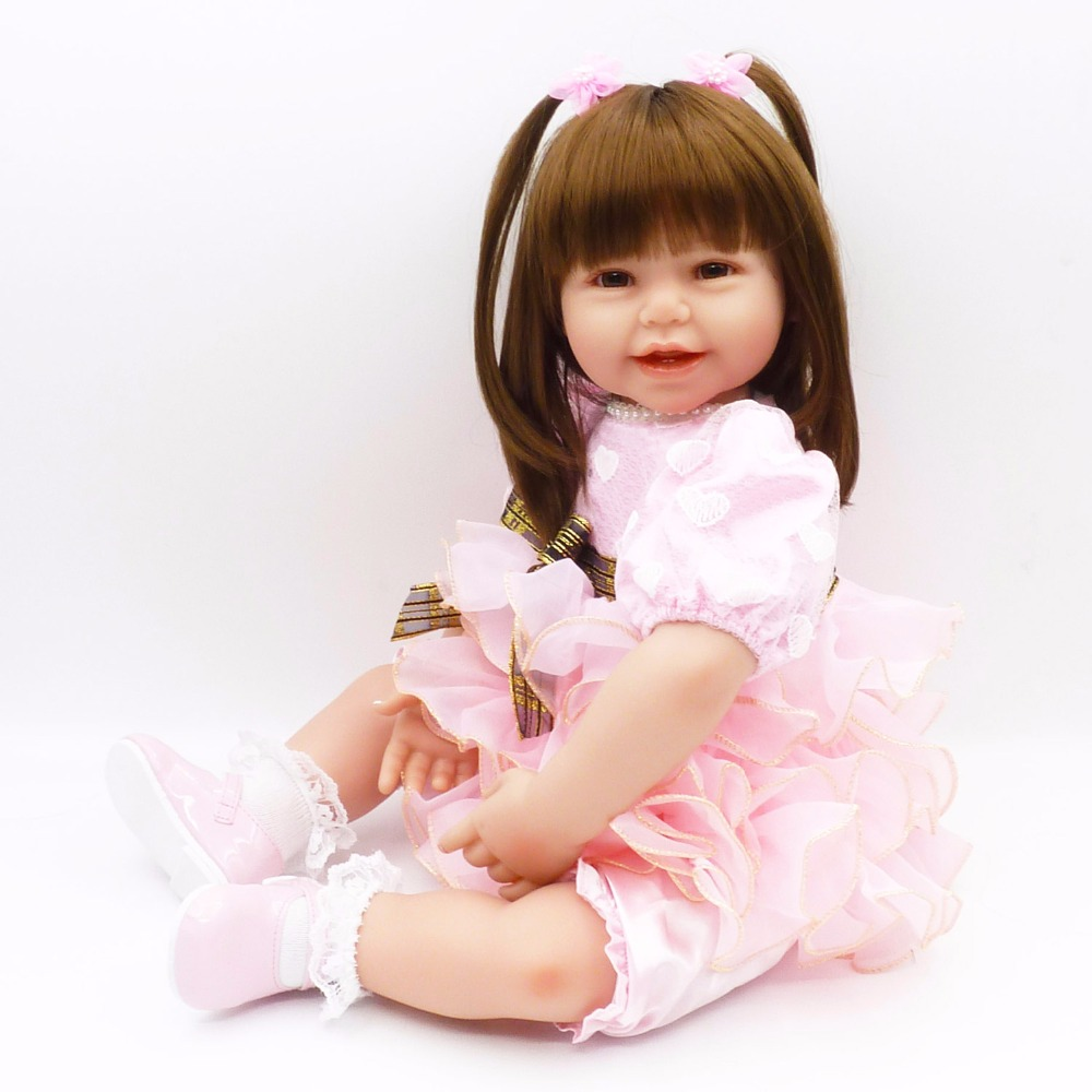 Pursue 24/60 cm New Pink Dress bebe reborn Girl Doll Reborn Cloth Body Silicone Limbs Doll Toys for Children Girl Birthday Gift new doll reborn doll with pink clothes soft cloth body silicone toddler reborn babies girl dolls toys birthday gift bonecas