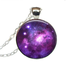2017 New Purple Nebula Space Pendants Astronomy Geek Jewelry Galaxy Necklace Glass Dome Pendant Round Picture Necklaces