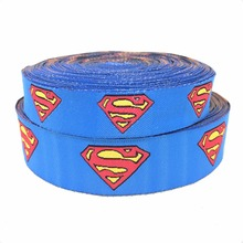 2014 NEW  wholesale 5/8+7/8(16mm+22mm 20yards/lots) Polyester superman Woven Jacquard Ribbon For Dog Collar KTZD2014070309