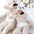 Inverno 2016 Homens Sleepwear Pijama Set Casal Coral Grossa de Veludo Adulto Onesie Pijama Hombre Mujer Quente Com Capuz Bonito Roupa Em Casa
