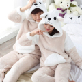 Winter 2016 Men Sleepwear Couple Pajamas Set Thick Coral Velvet Adult Onesie Pyjamas Hombre Mujer Warm Cute Hooded Home Clothes