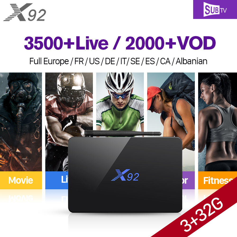 X92 Full HD IP TV French Belgium Canada 3G+32G S912 Android IPTV box 7.1 IPTV Arabic French Portugal IPTV Subscription 1 Year