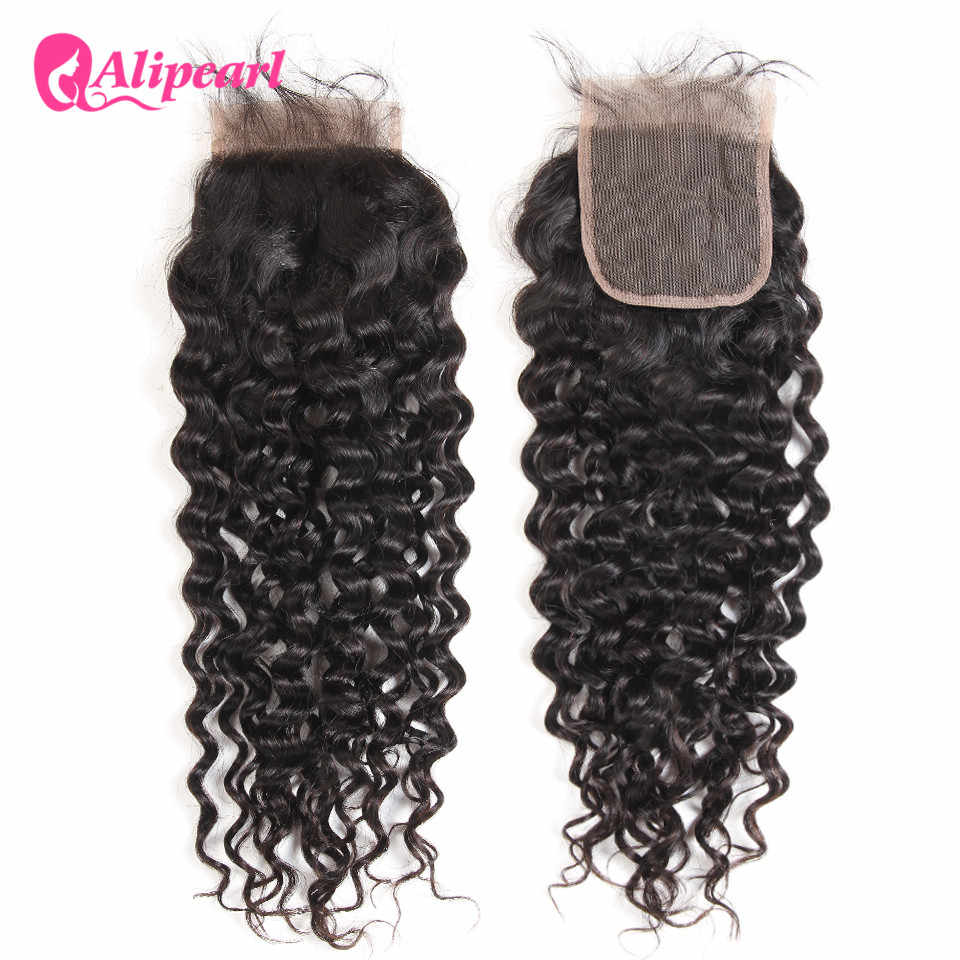 Water Wave Lace Closure 4X4 inch Free Part With Baby Hair Natural Color Remy ALI PEARL Hair