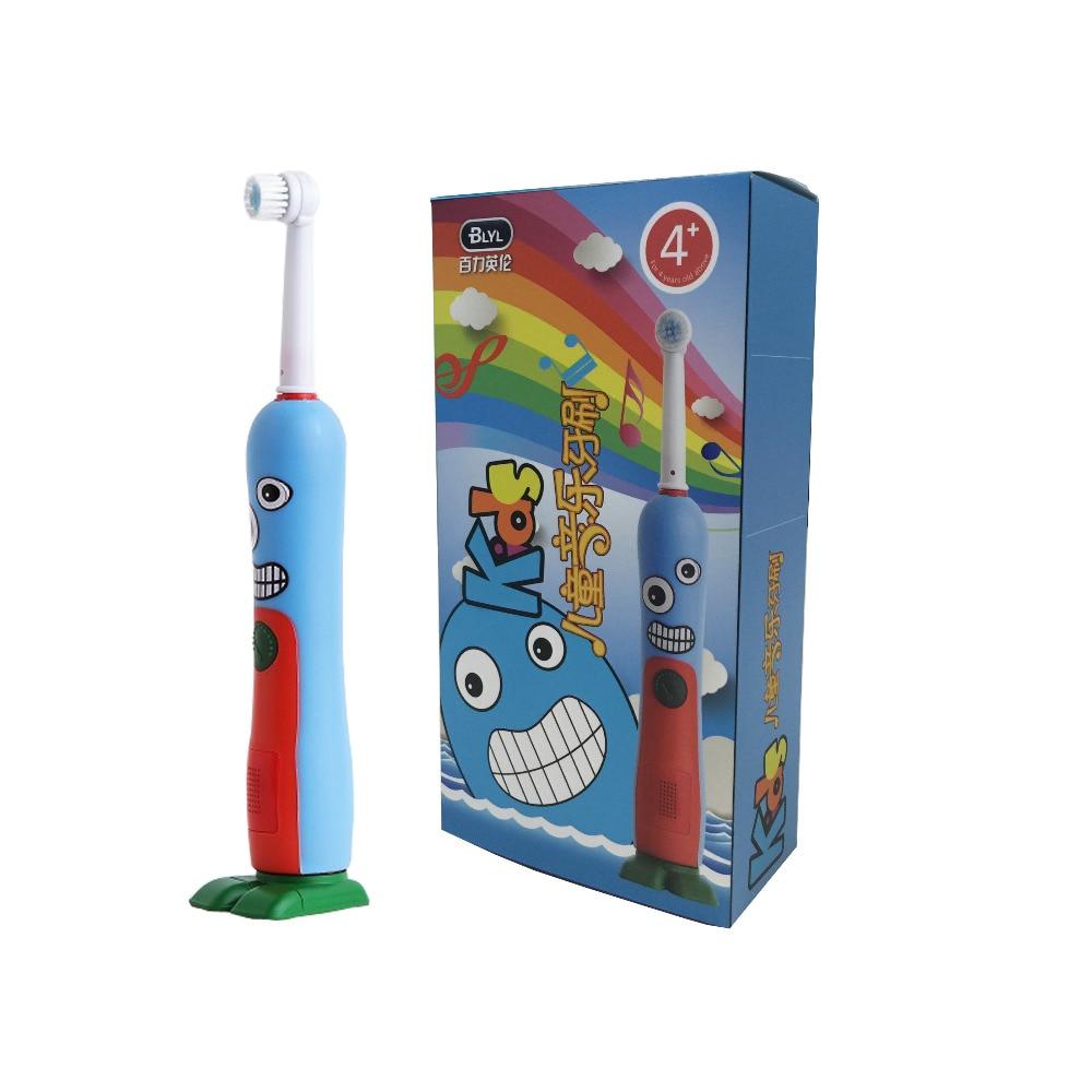 BLYL Brand Child Children Rotation Cartoon penguin design Dental Care Rechargeable font b Electric b font