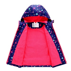 Image 2 - Spring Autumn Waterproof Stars Print Fleece Child Coat Baby Girls Jackets Children Outerwear Kids Outfits For 3 12 Years Old