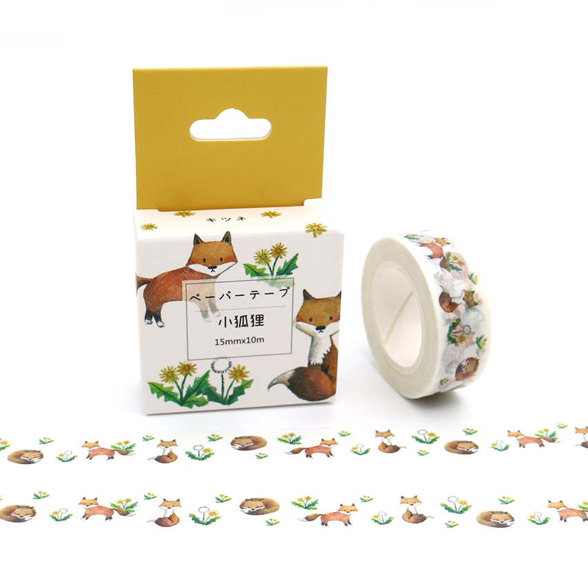 15mm*10m Box Package Kawaii Little Fox Washi Tape Excellent Quality Colorful Paper Masking Tape DIY Decorative Tapes