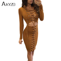 AKYZO 2017 Long Sleeve Lace Up Suede Dress Autumn Women Sexy Stand Hollow Out Bodycon Bandage
