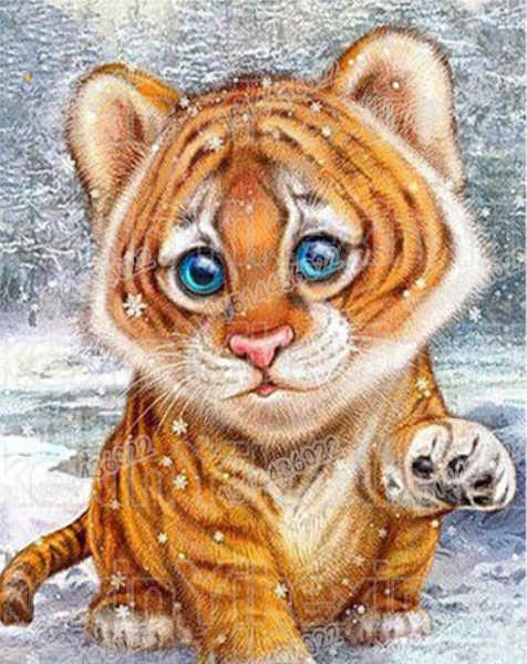 Mosaico de diamante Tigre DIY Diamante Bordado Animais do Ponto Da Cruz Pintura Diamante rodada Completa Para Crianças Presente Passatempo