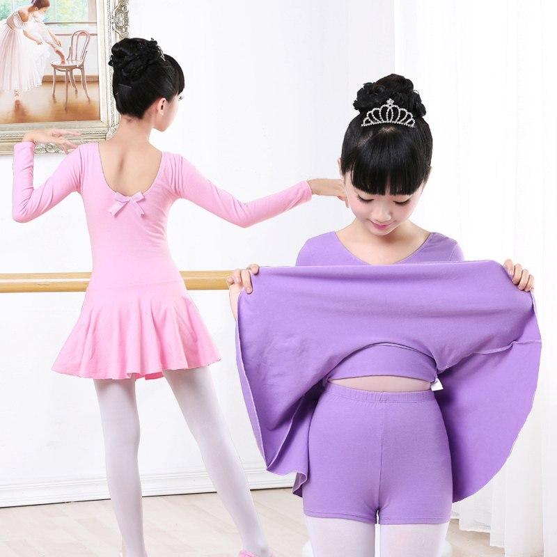 High Quality Cotton Long Sleeve Separate Shorts Dance Ballet Suit Children Girls Gymnastics Ballet Dance Dress Kids Dancewear