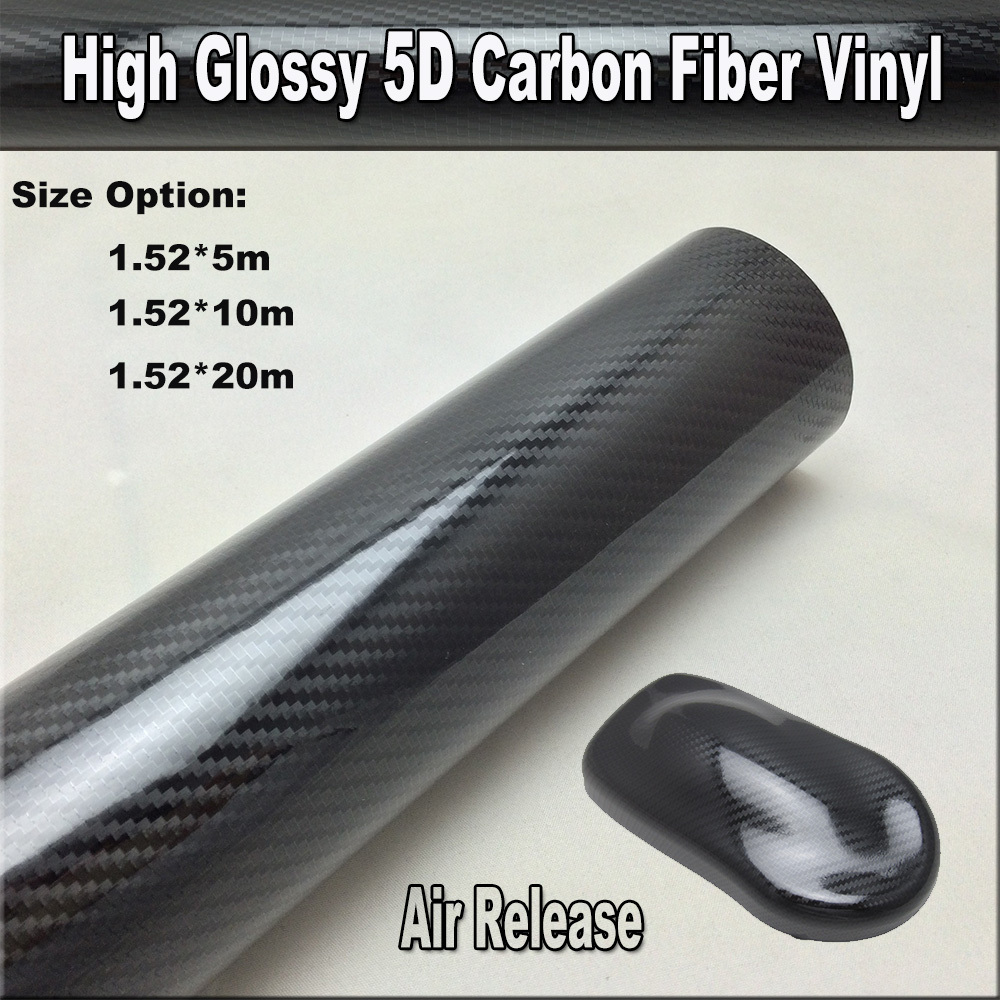 5m/10m/20m Retail Glossy Premium 5D Carbon Fiber Vinyl 5D Carbon Black Car Wrap Film Waterproof Sticker With Air Bubble Free цена
