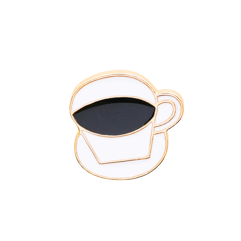 Fashion Coffee Cup Spoon Disc Shape Brooches White Enamel Gold Color Brooch Pins Women Men Clothes Suit Coat Accessories in Brooches from Jewelry Accessories
