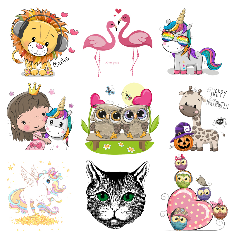 Iron on Transfer Unicorn Flamingo Owl Patches for Kids Clothing DIY T-shirt Applique Heat Transfer Vinyl Stickers Thermal Press figurine