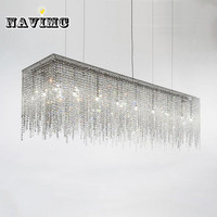 Modern long k9 Rectangular crystal chandelier Lighting for Dining Room Living Room Bedroom Hanging Lamp