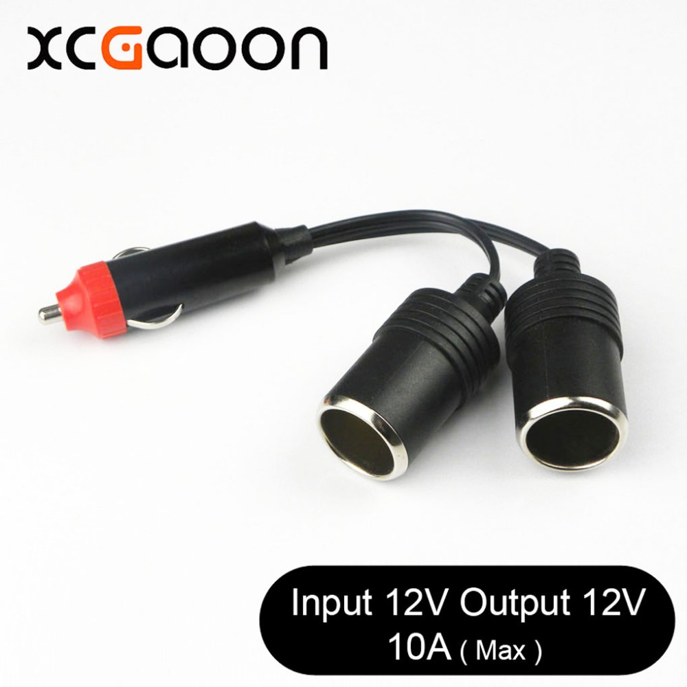 XCGaoon 2 Ways Triple Car Cigarette Lighter Splitter Female Socket Plug Power Adapter Connector, Input 12V Output 12V 10A