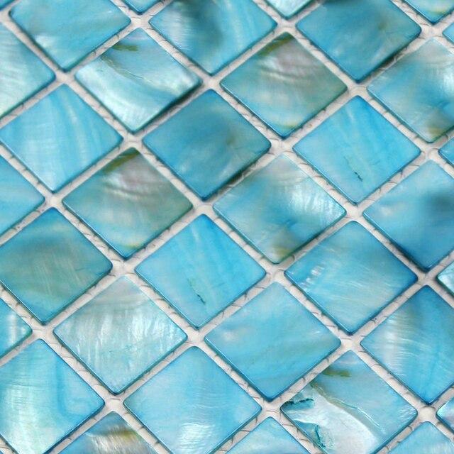 Sky Blue Mother Of Pearl Kitchen Backsplash Tile Ocean Blue Mosaics Art  Shell Bathroom Flooring Shower