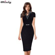 Oxiuly Elegant Fitted Summer Dress Women Wear to Work Short Sleeve Dot Turn-down Collar Button Business Sheath Pencil Dress