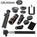 Girlwoman 10 em 1 kits 12x zoom lente telefoto olho de peixe lente grande angular macro lentes do telefone celular tripé para xiaomi redmi