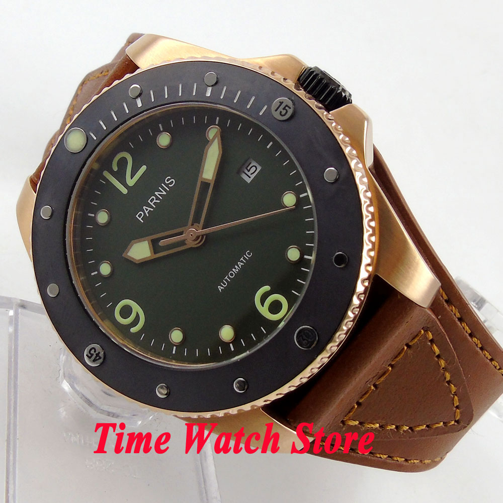 <font><b>Parnis</b></font> 43mm green dial luminous sapphire glass golden case 10ATM 21 jewels MIYOTA Automatic mens watch 594 image