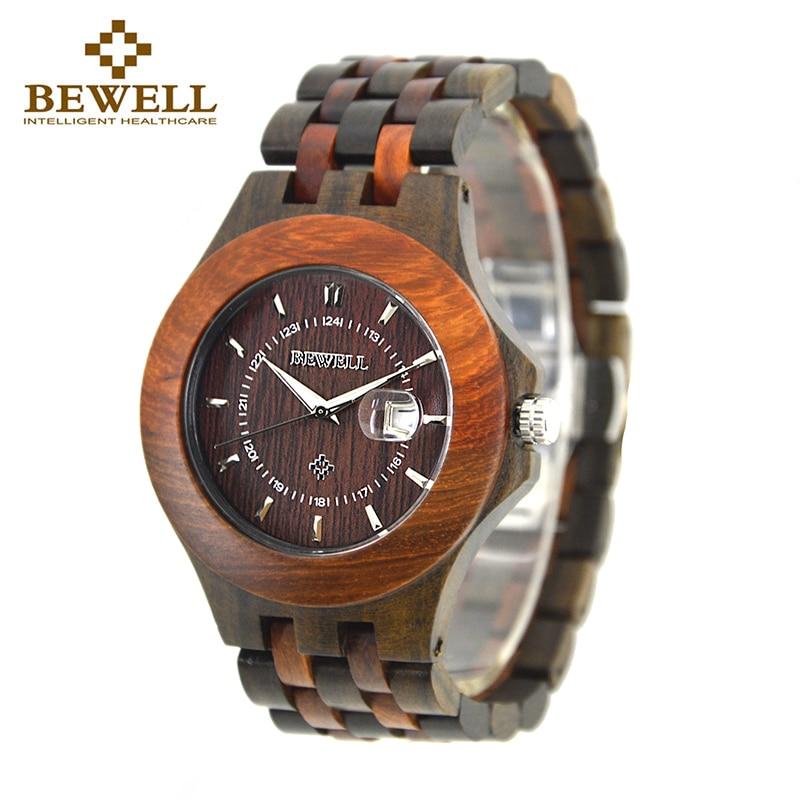 BEWELL Top Luxe Merk Heren Houten Horloges Heren Waterdicht quartz - Herenhorloges - Foto 1