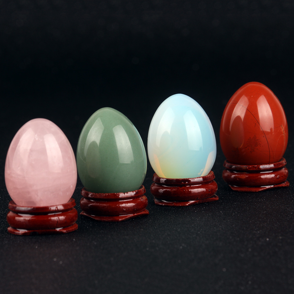Assorted Rose quartze Red Green aventurine Egg With wood stand Natural Bell Chakra Healing Crystal Reiki Stone Carved Free pouch