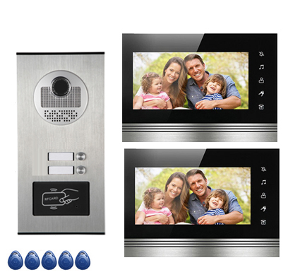 2017 New Arrival Home Security Intercom System Doorbell For 2-apartments w/t 7Video Door Phone Monitors ID card Unlocking