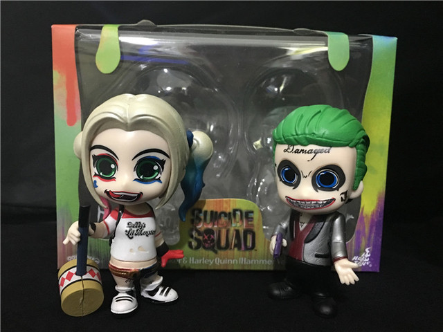 2 items/set Suicide Squad Harley Quinn and the Joker Figure Action Toy Figure Q Version Clay Kits Collectible Moedl Brinquedos