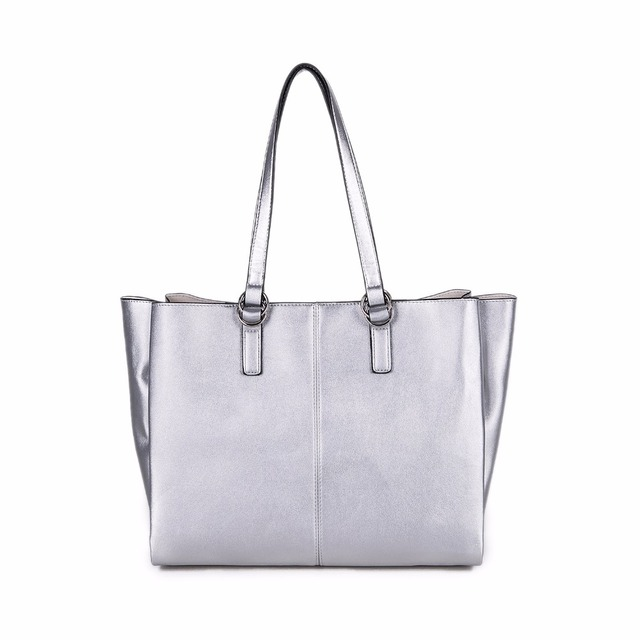 Ziwi Fashion Shoulder Bags For Women Handbag Silver Color Handles Large Capacity Soft Leather