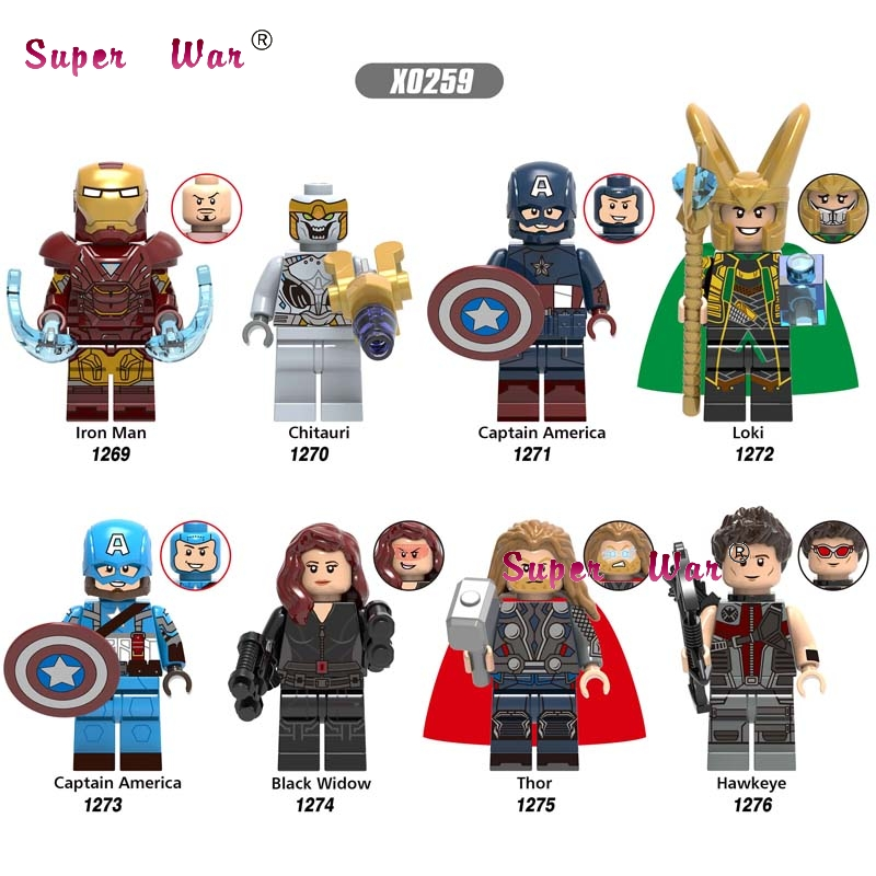 50pcs Endgame Iron Man Chitauri Loki Black Widow Thor Hawkeye Captain America Avengers 4 building block