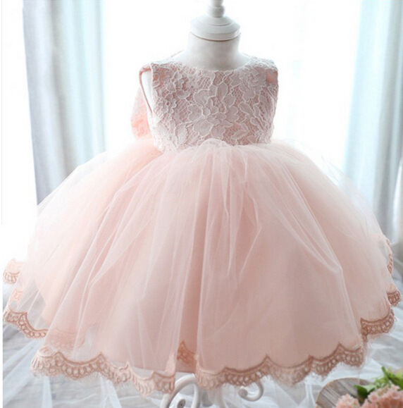 Baby Girl Flower Bownot Wedding Party Christening Gown Formal Pageant Ruffle Tutu Dress girls Princess dress 2Colors 3-12years