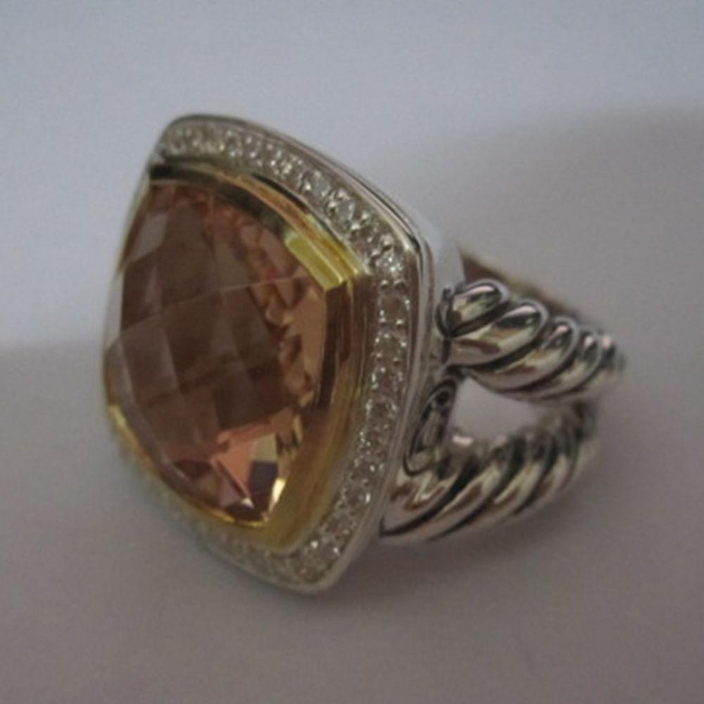 Bijoux en argent Sterling massif 14mm bague en Albion avec Morganite plaqué or bijoux en argent Design marque femmes bague