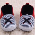 Cute Newborn Infant Baby Boy Girl Cotton Canvas Soft Sole Crib Shoes Striped First Walker