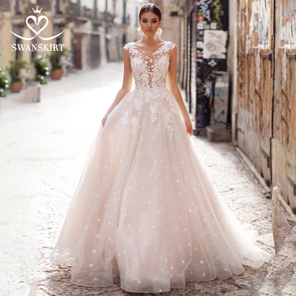 Sexy Backless Wedding Dress 2019 Swanskirt Appliques Flowers Tulle Scoop Neck A-line Bridal Gowns Princess Vestido De Noiva K109