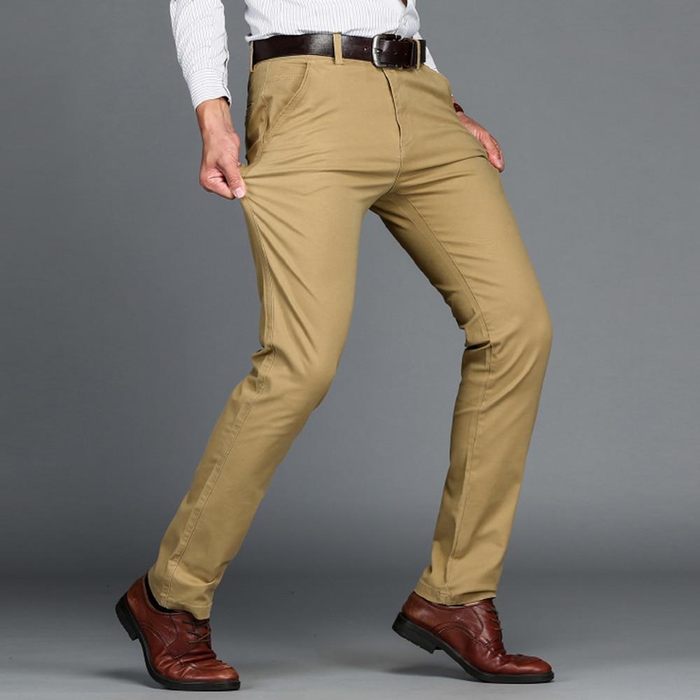 Mens Pants Cotton Casual Pants Stretch Male Trousers Man Long Straight,Light Khaki,33