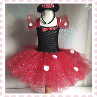 Red Minnie Girl Sparkle Birthday Party Tutu Dress White Dot Kids Christmas Tutu Dresses Children Clothes