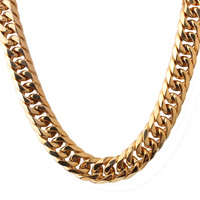 16mm wide Stainless Steel Cuban Miami Chains Necklaces Big Box Lock Heavy Gold Link Chain Necklace for Men Hip Hop Rock jewelry