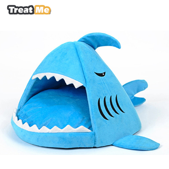 Blue Shark Dog Kennel Warm Soft Dog House Cat Bed PP Cotton Pet Bed for Small Pet Products Fashion Shape Dog Sleeping Bag