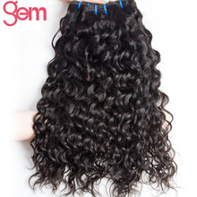 Brazilian Water Wave Human Hair Weave Bundles GEM BEAUTY Hair Natural Color 1Pc No Remy Hair Weft Can Be Dyed Can Buy 3/4pcs