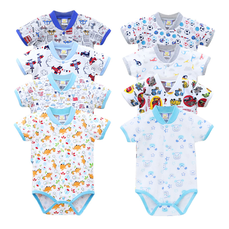 2019 Little Q One Pieces Pure 100% Cotton Short Sleeve Baby Bodysuits Spring And Summer 8 Pieces Button Down Print Girls Clothes