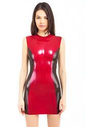 Латекс миди платье с прозрачной черной стороны латекса фетиш рубашки сексуальные костюмы