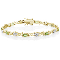 GemStoneKing Natural 4 00 Ct Peridot With Diamond Accent 18K Plated Sterling Silver Bracelet For Women