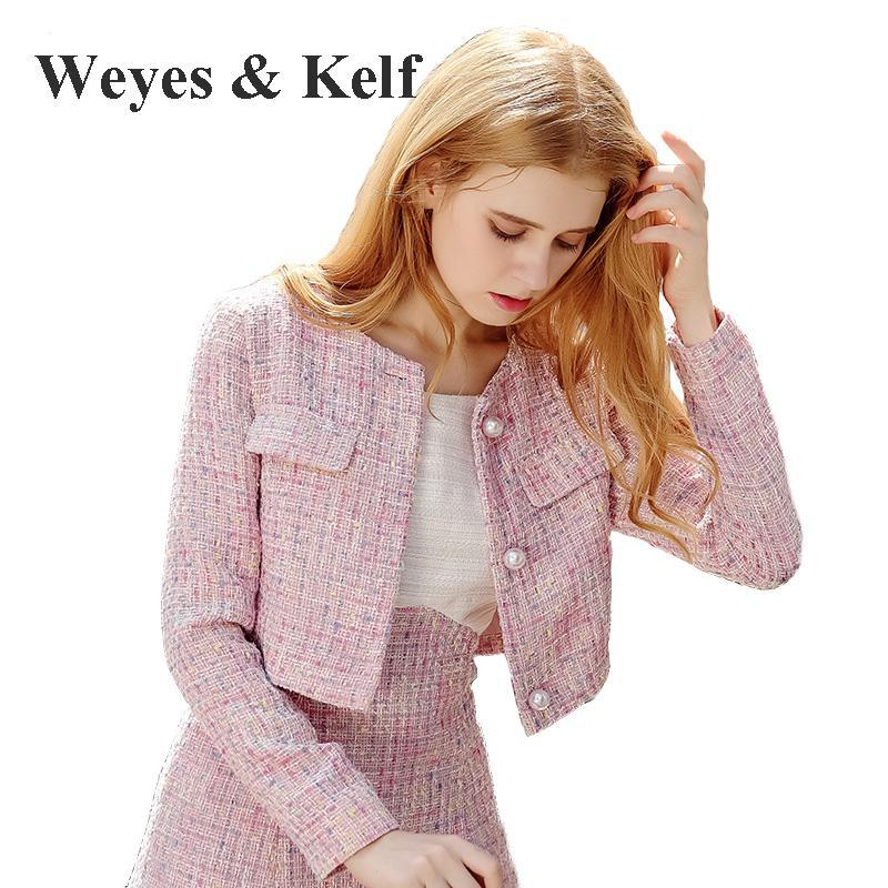 Weyes Kelf Winter Pink Long Sleeve Jacket Short Wool Coat Women