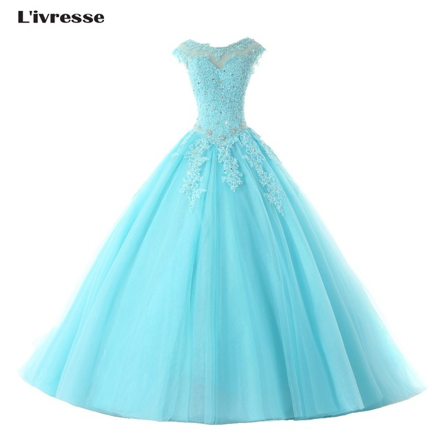 L'ivresse 2017 Hot Sale Sexy Blue Prom Dresses Ball Gowns Long Blue Tulle Appliques Beaded Cap Sleeves Sweet 16 Dress R291