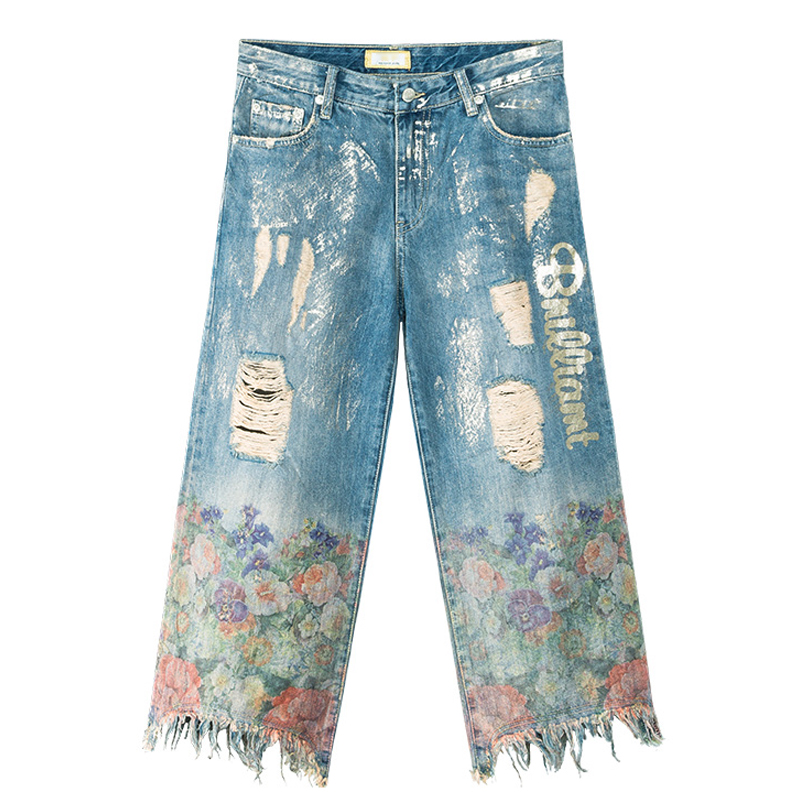 Spring Summer Casual Women Loose Printed Irregular Tassel Ripped Hole Denim Trousers , Woman Wide Leg Ankle Length Jeans Pants