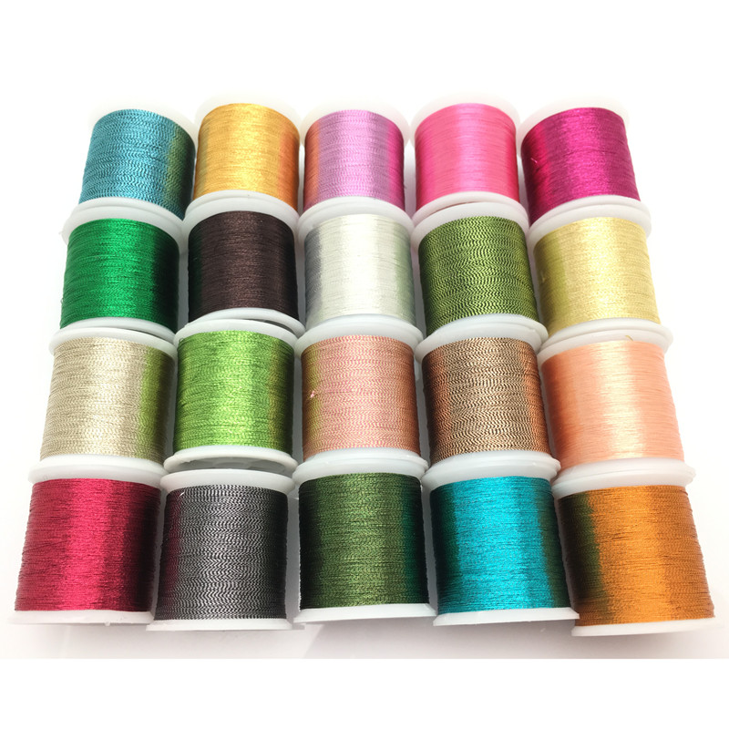 20 Piece Metallic Glitter Polyester Embroidery Thread Sewing Thread Set - All Purpose Assorted Colours Crochet Thread 7YJ71