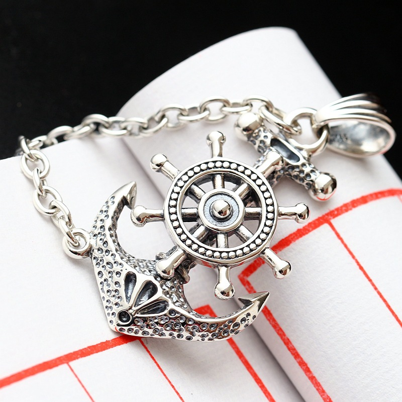 Retro Thai Silver Jewelry Wholesale Authentic S925 Sterling Silver Pendant Male And Female Punk Style Anchor Silver Pendant universal leather car armrest central store content storage box with cup holder center console armrests free shipping